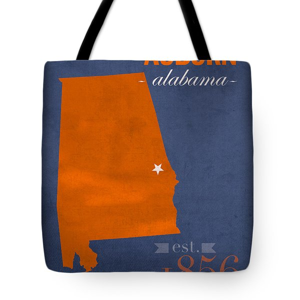 Auburn University Tigers Auburn Alabama College Town State Map Poster Series No 016 Tote Bag by Design Turnpike