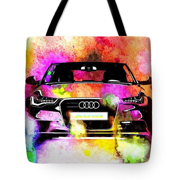 Audi A6 Avant Watercolor Tote Bag
