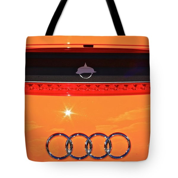 Tote Bag featuring the photograph Audi Orange by Linda Bianic