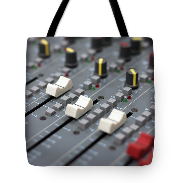 Tote Bag featuring the photograph Audio Mixing Board Console by Gunter Nezhoda