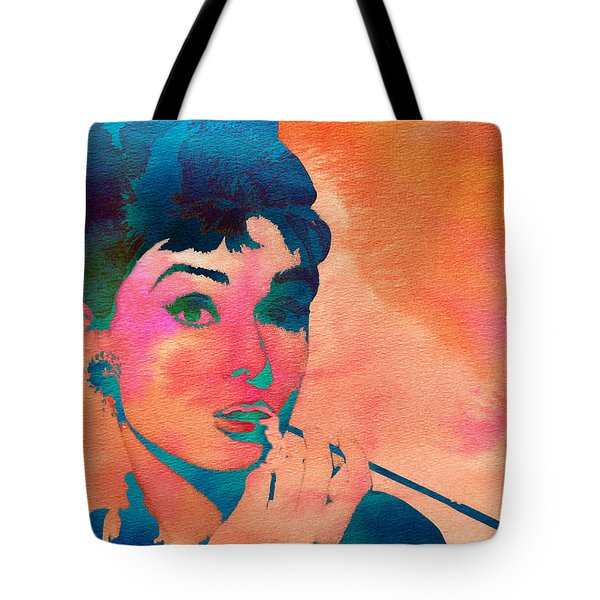 Tote Bag featuring the painting Audrey Hepburn 1 by Brian Reaves