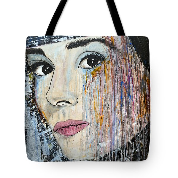 Audrey Hepburn-abstract Tote Bag by Ismeta Gruenwald