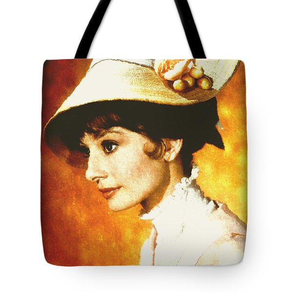 Tote Bag featuring the digital art Audrey Hepburn - Impressionism by Isabella Howard
