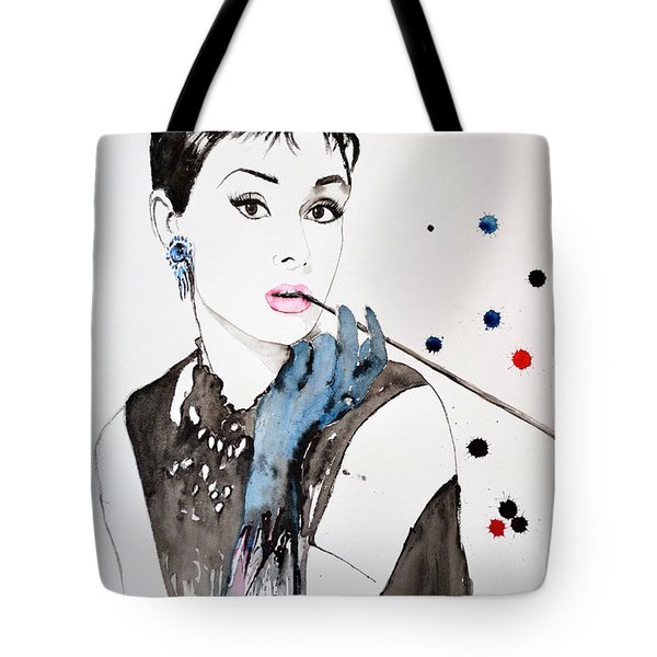 Tote Bag featuring the painting Audrey Hepburn by Ismeta Gruenwald