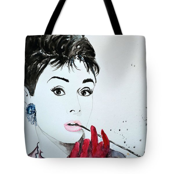 Tote Bag featuring the painting Audrey Hepburn - Original by Ismeta Gruenwald