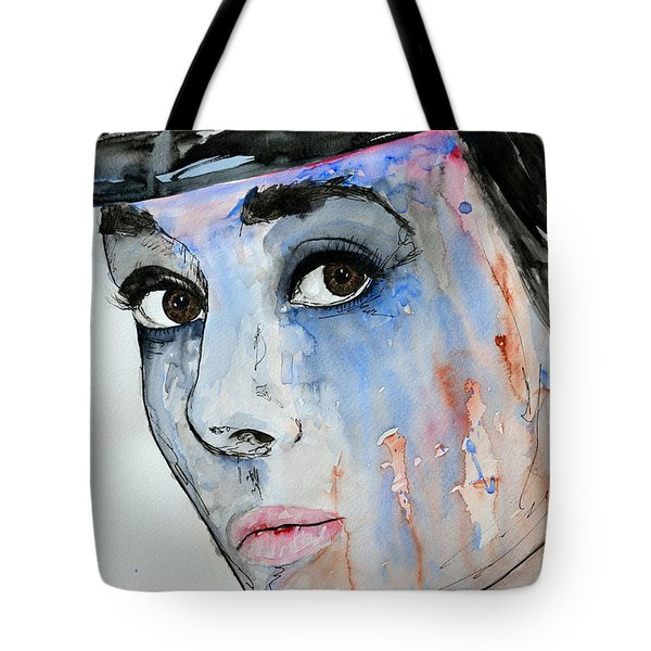Tote Bag featuring the painting Audrey Hepburn - Painting by Ismeta Gruenwald