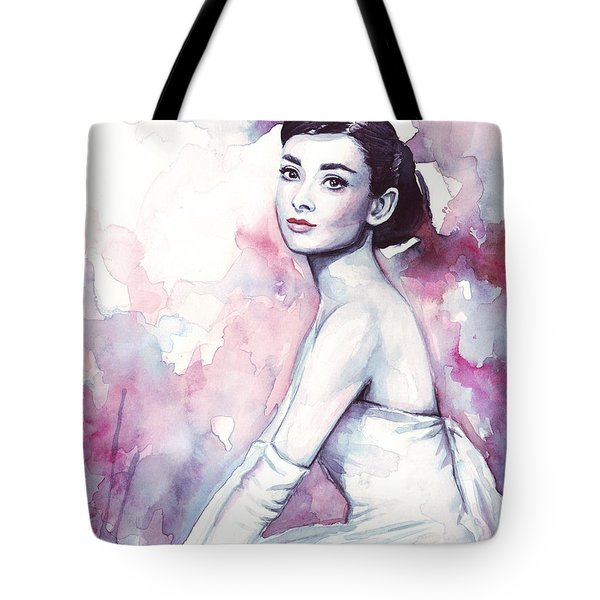 Audrey Hepburn Purple Watercolor Portrait Tote Bag by Olga Shvartsur