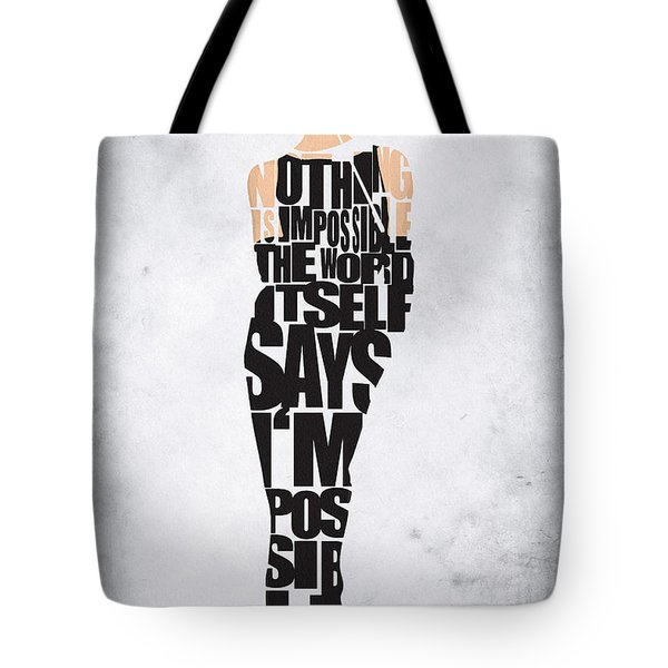 Audrey Hepburn Typography Poster Tote Bag by Ayse Deniz