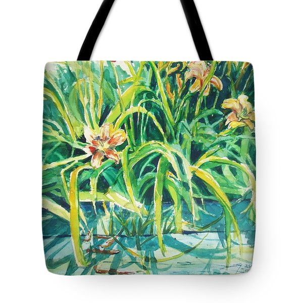 Tote Bag featuring the painting August Shadows by Joy Nichols