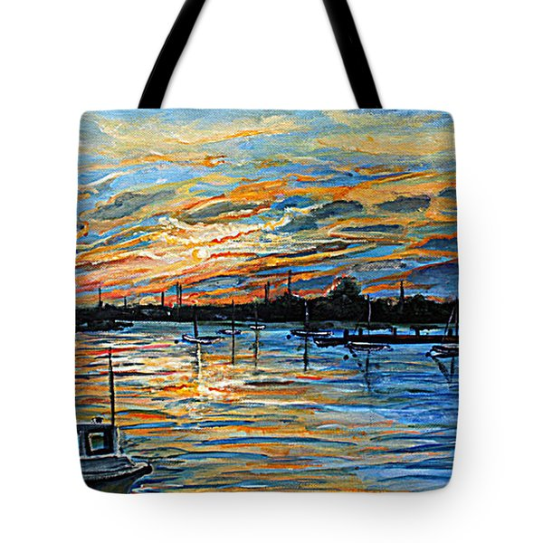 Tote Bag featuring the painting August Sunset In Woods Hole by Rita Brown
