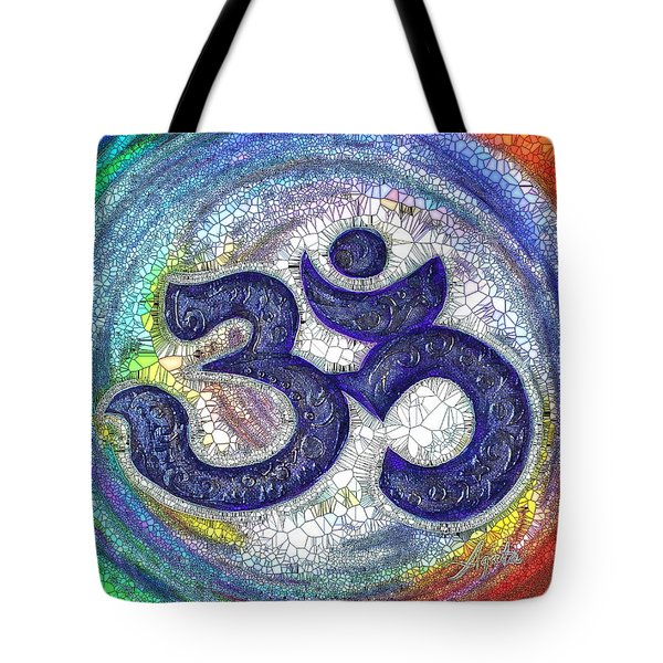 Tote Bag featuring the digital art Aum Purple by Agata Lindquist