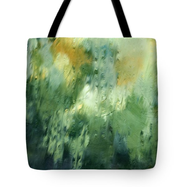 Tote Bag featuring the painting Aurora Borealis Abstract by Isabella Howard