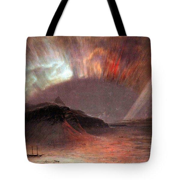 Aurora Borealis By Frederick Edwin Church Tote Bag