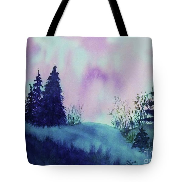 Tote Bag featuring the painting Aurora Borealis I by Ellen Levinson