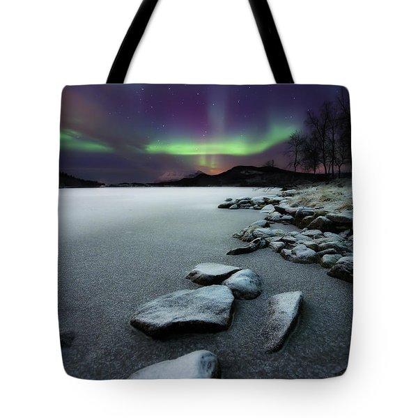 Aurora Borealis Over Sandvannet Lake Tote Bag by Arild Heitmann