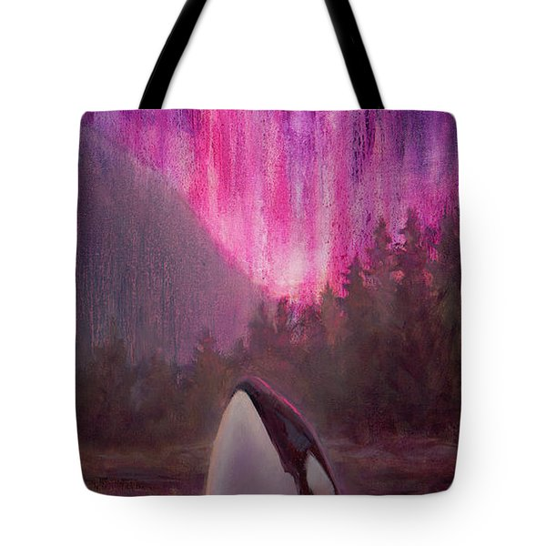 Orca Whale And Aurora Borealis - Killer Whale - Northern Lights - Seascape - Coastal Art Tote Bag