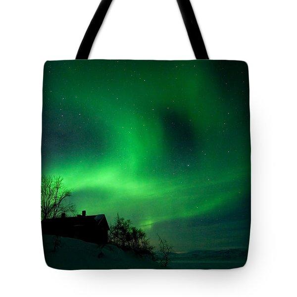 Aurora Over Lake Tornetrask Tote Bag by Max Waugh