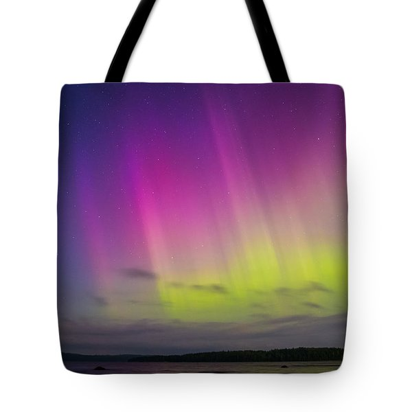 Auroras Over A Lake Tote Bag by Janne Mankinen