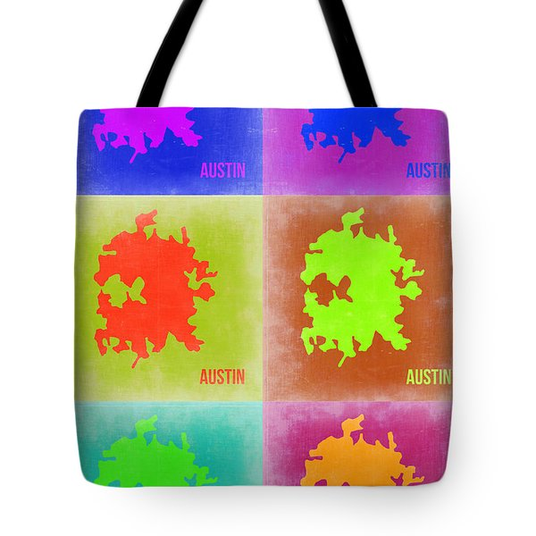 Austin Pop Art Map 4 Tote Bag by Naxart Studio
