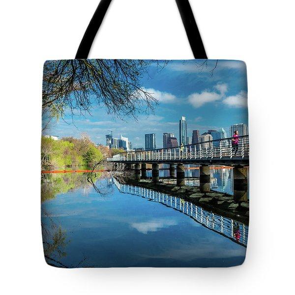 Austin Skyline And Lady Bird Lake - Tote Bag