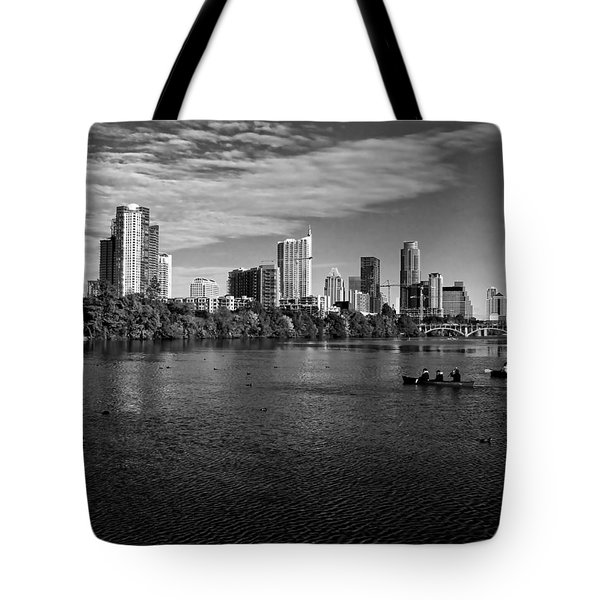 Austin Skyline Bw Tote Bag by Judy Vincent