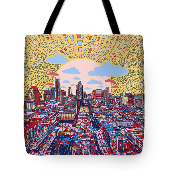 Austin Texas Abstract Panorama 2 Tote Bag by Bekim Art