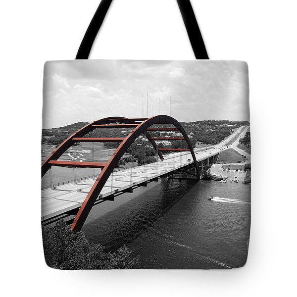 Tote Bag featuring the digital art Austin Texas Pennybacker 360 Bridge Color Splash Black And White by Shawn O'Brien