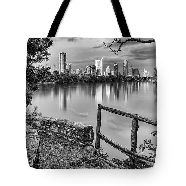 Austin Texas Skyline Lou Neff Point In Black And White Tote Bag