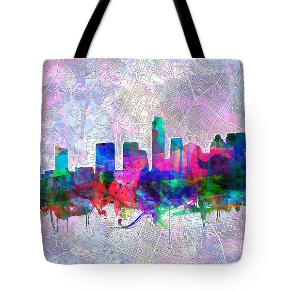 Austin Texas Skyline Watercolor 2 Tote Bag by Bekim Art