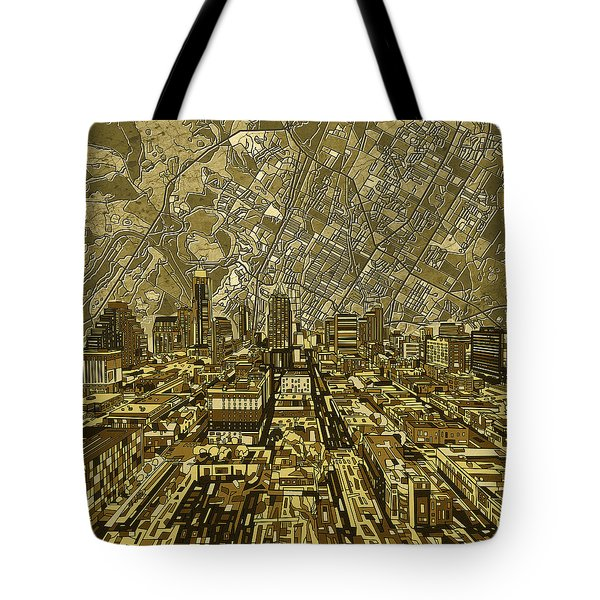 Austin Texas Vintage Panorama Tote Bag by Bekim Art