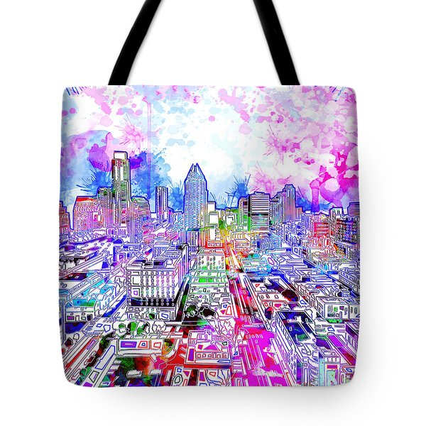 Austin Texas Watercolor Panorama Tote Bag by Bekim Art