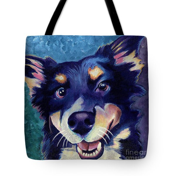 Australian Shepard Dog Portrait Tote Bag by Robyn Saunders