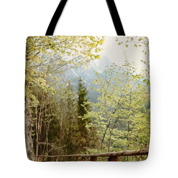 Tote Bag featuring the photograph Austrian Woodland Trail And Mountain View by Brooke T Ryan