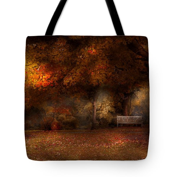 Autumn - A Park Bench Tote Bag by Mike Savad
