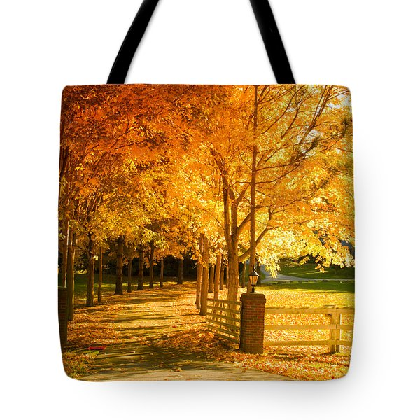 Autumn Alley Tote Bag by Alexey Stiop