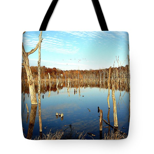 Tote Bag featuring the photograph Autumn At Lake Jacomo 3   by Ellen Tully