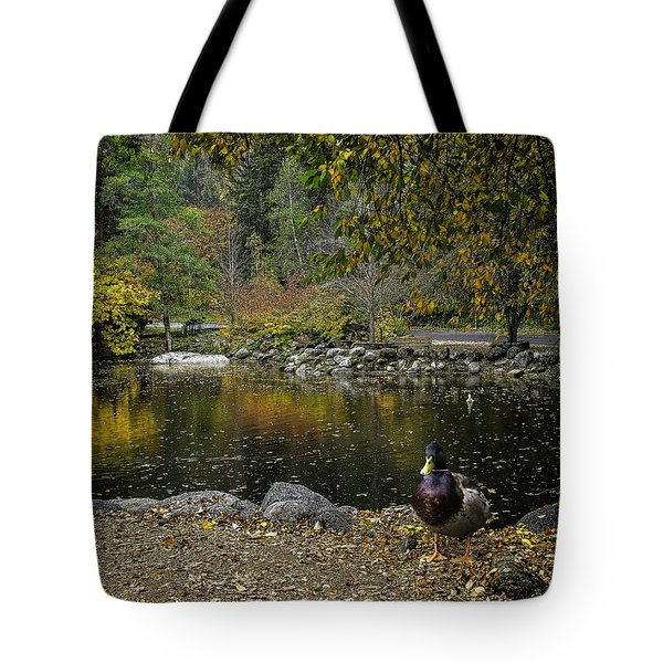 Autumn At Lithia Park Pond Tote Bag by Diane Schuster