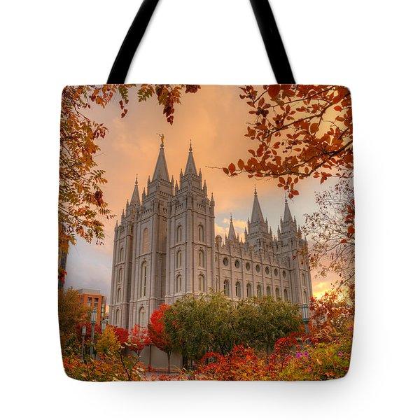 Autumn At Temple Square Tote Bag