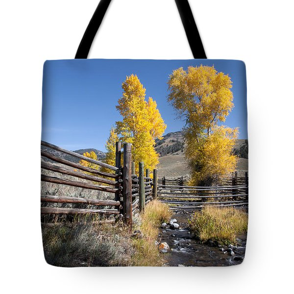 Tote Bag featuring the photograph Autumn At The Lamar Buffalo Ranch by Jack Bell