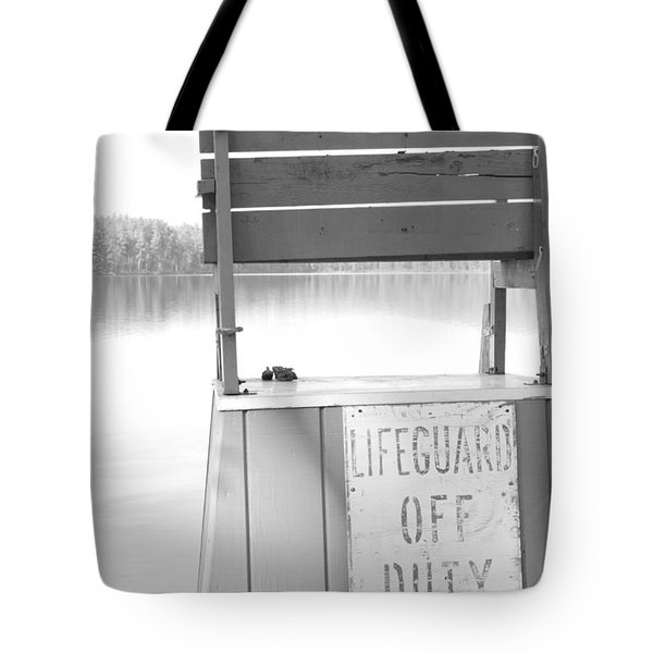 Autumn At White Lake Bw Tote Bag