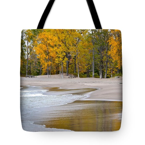 Autumn Beach Tote Bag by Frozen in Time Fine Art Photography