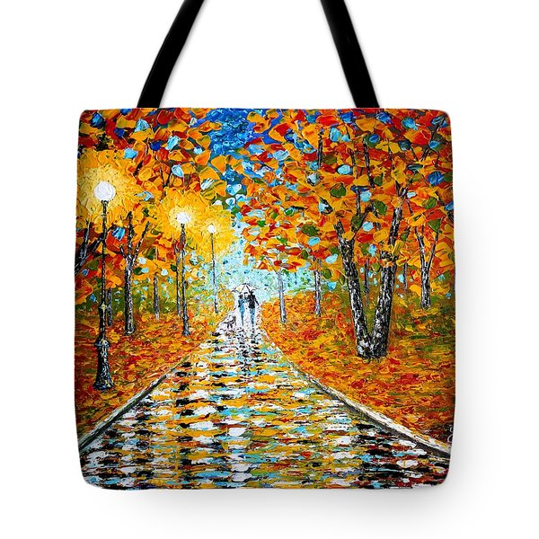 Tote Bag featuring the painting Autumn Beauty Original Palette Knife Painting by Georgeta  Blanaru