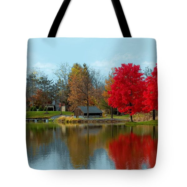 Autumn Beauty On A Pond Tote Bag