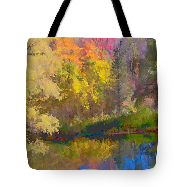 Autumn Beside The Pond Tote Bag by Don Schwartz