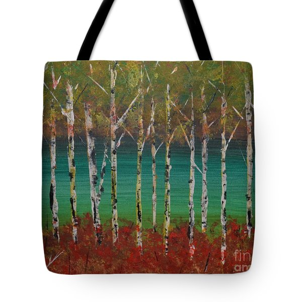Tote Bag featuring the painting Autumn Birches by Denise Tomasura