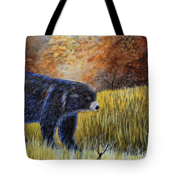 Autumn Black Bear Tote Bag