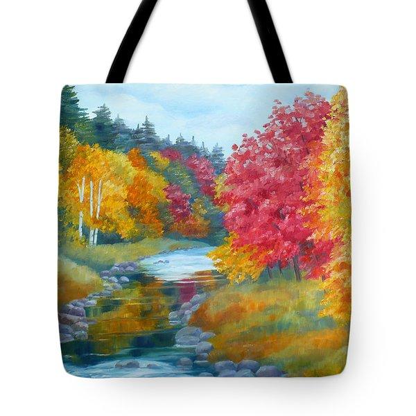 Autumn Blaze With Birch Trees Tote Bag