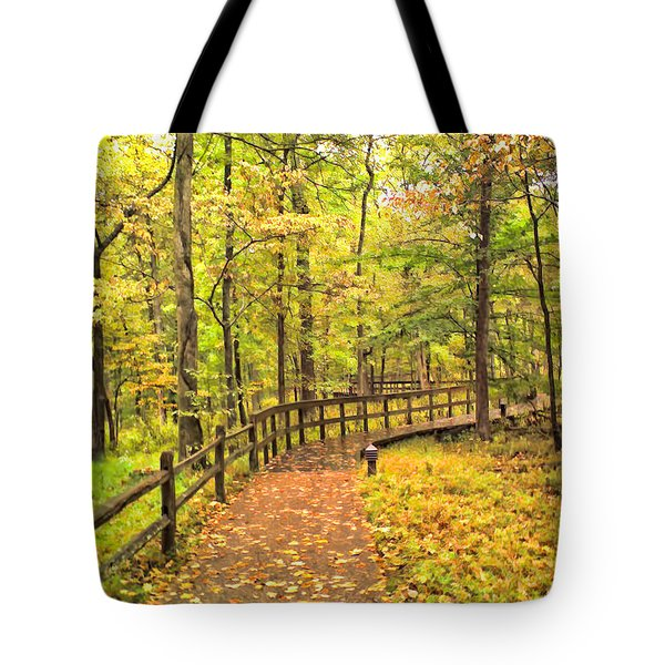 Autumn Boardwalk At Mammoth Cave National Park 2 Tote Bag by Greg Jackson