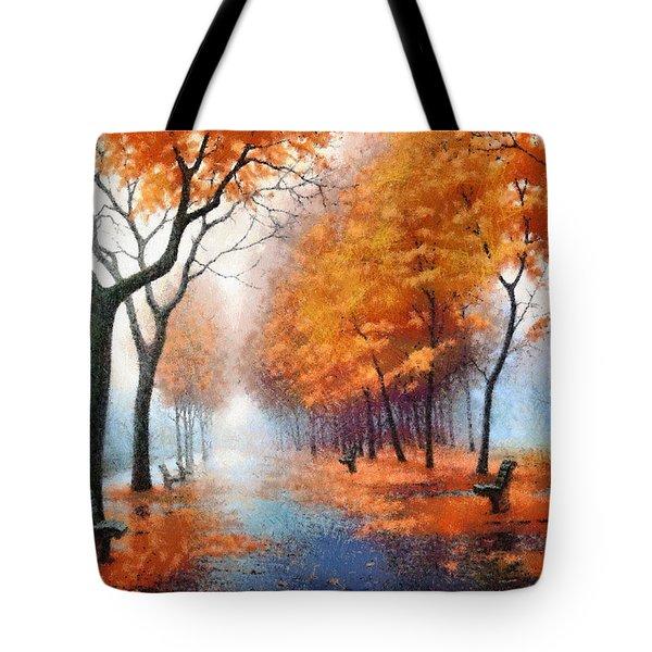 Autumn Boulevard Tote Bag