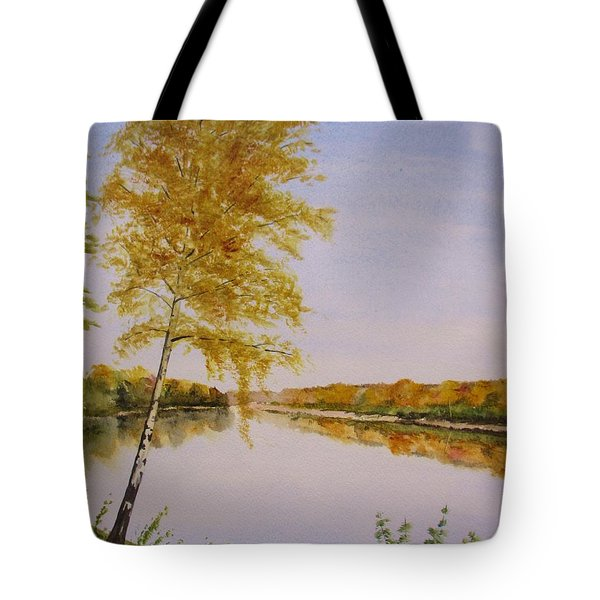 Tote Bag featuring the painting Autumn By The River by Martin Howard